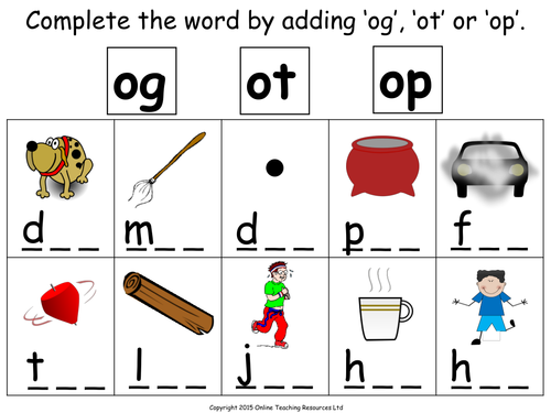 Making og ot and op Words Animated PowerPoint – Op Word Family Worksheets