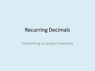 how to change recurring decimals into fractions