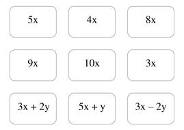 Maths KS3 KS4 Simplifying algebraic expressions; activity
