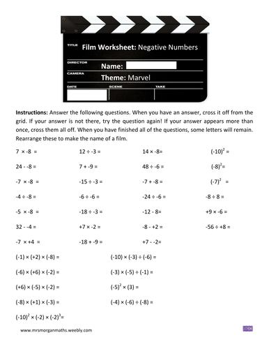 multiplication and division of negative numbers pdf