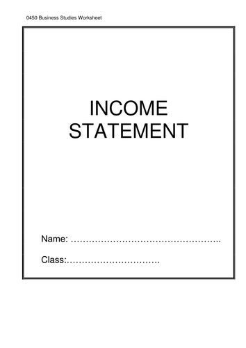 income statement worksheet by samantha yau uk teaching resources tes. Black Bedroom Furniture Sets. Home Design Ideas