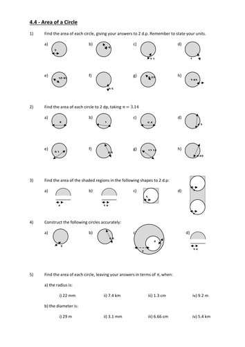 Area of a circle, semi circle, quarter and composite - KS3 by ...