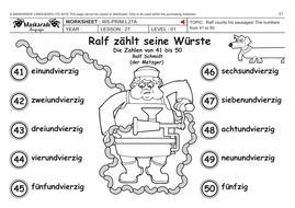 GERMAN KS2 Level 1: Numbers 41 to 50/ What's your phone