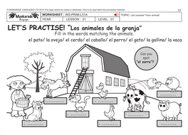 Spanish Ks2 Level 1 Farm Animals By Maskaradelanguages Teaching