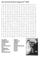 The Nazi-Soviet Pact (August 23rd 1939) Word Search