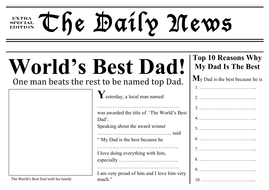 Father's Day Resources - Newspaper Front Page Template. World's Best Dad!