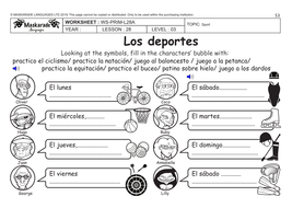 SPANISH KS2 Level 3 - KS3 (Year 7): Free time, sport activities