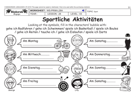 GERMAN KS2 Level 3 - KS3 (Year 7): Free time/ Sport activities by ...