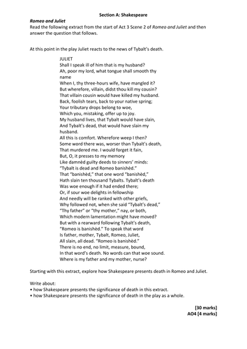 aqa english literature romeo juliet practice exam materials aqa english literature 2015 romeo juliet practice exam materials by swa201 teaching resources tes