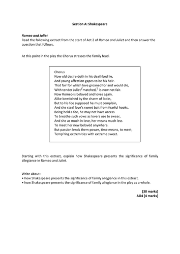 aqa english literature romeo juliet practice exam materials  aqa english literature 2015 romeo juliet practice exam materials by swa201 teaching resources tes