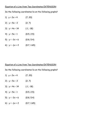 Equation of a line from two coordinates by pixi_17 - Teaching ...