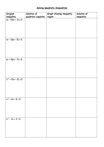 Worksheets Solving Quadratic Inequalities Worksheet solving quadratic inequalities by piximaths teaching resources tes