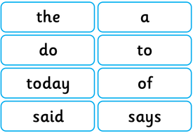 y1 common exception word flash cards or display