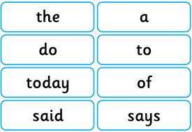 y1 common exception word flash cards or display