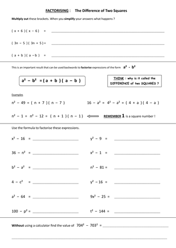 Printables Difference Of Two Squares Worksheet difference of two squares worksheet abitlikethis by skillsheets uk teaching resources tes