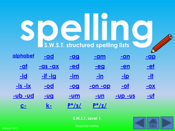 SWST Single Word Spelling Test: Levels 1-6 power-points, lists and some table cards.