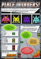 Place Invaders comic style place value worksheet