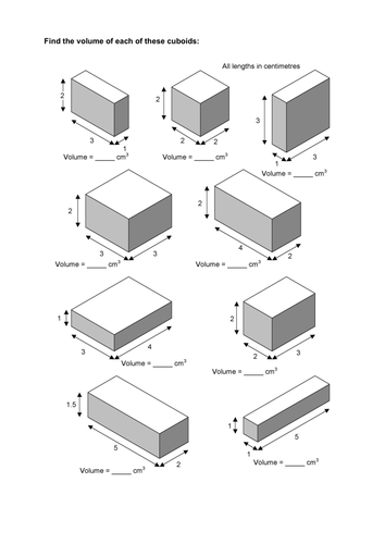 Maths KS2 KS3 KS4 Foundation: Volume of cuboids, with a wide range of  differentiated worksheets.