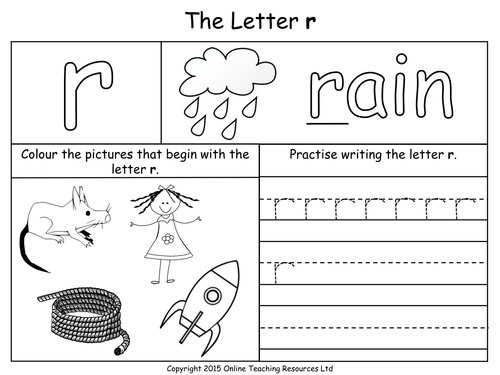Letters of the Alphabet Teaching Pack 24 PowerPoint – Letter R Worksheets