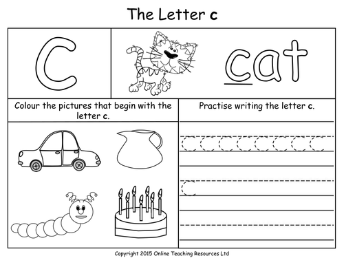 Letters of the Alphabet Teaching Pack 24 PowerPoint – Letter C Worksheets for Preschool