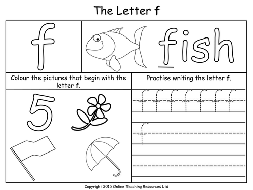 Letters of the Alphabet Teaching Pack 24 PowerPoint – Letter F Worksheets for Preschool