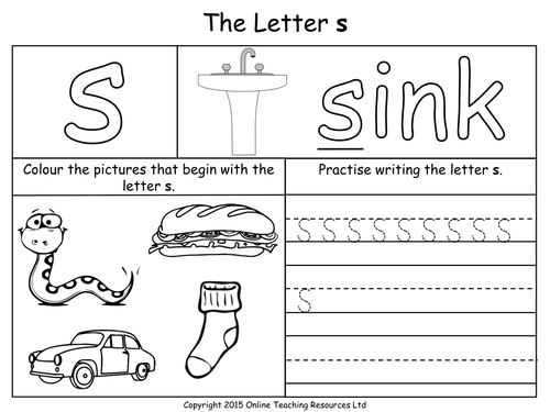 trace words that begin with letter sound s recognize the sound of