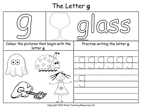 Letters of the Alphabet Teaching Pack 24 PowerPoint – G Worksheets
