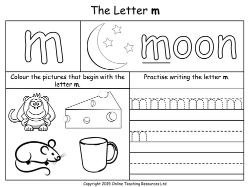 Letters of the Alphabet Teaching Pack 24 PowerPoint – Letter M Worksheets