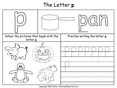 Letter P Worksheets on Lowercase Alphabet Writing Practice X