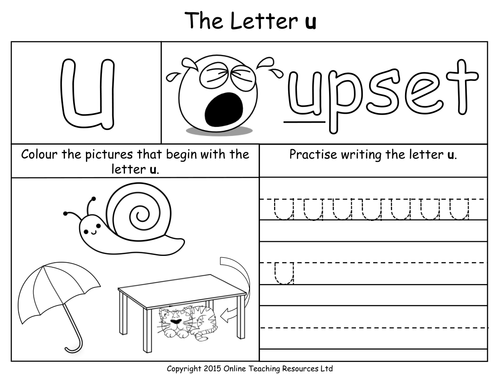 Letters of the Alphabet Teaching Pack 24 PowerPoint – Letter U Worksheets