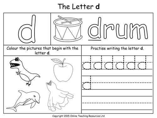 Letters of the Alphabet Teaching Pack 24 PowerPoint – D Worksheets