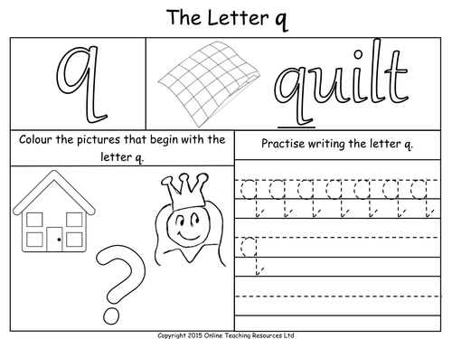 Letters of the Alphabet Teaching Pack 24 PowerPoint – Q Worksheets for Kindergarten