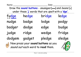 Phase 5 Alternative Spellings For J Fudge Gentle Table And Sentence Cards And Ppt Teaching Resources