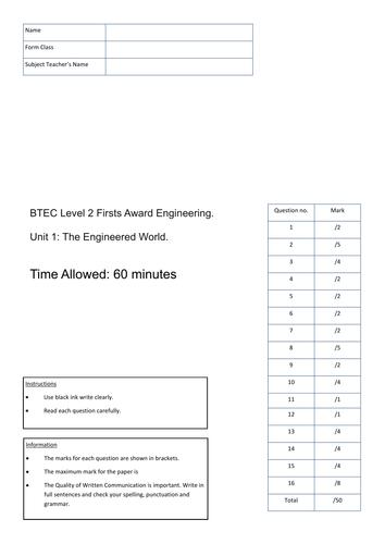 BTEC Engineering Level 2 - Unit 1: Engineered World - Mock Exam (A)