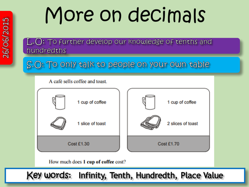 Understanding Tenths and Hundredths and decimal numbers in – Decimals Tenths and Hundredths Worksheets