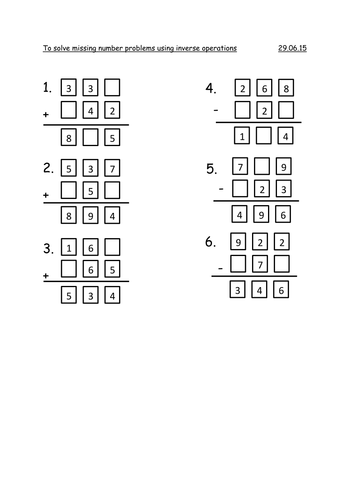 Year 3 Missing Number Problems by rachel0704 - Teaching Resources ...
