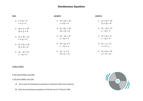 Simultaneous Equations by Elimination worksheets by