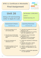 BTEC Workskills L1- UNIT 26 - Using a CV  and Covering letter to Apply for a Job - Final Assignment