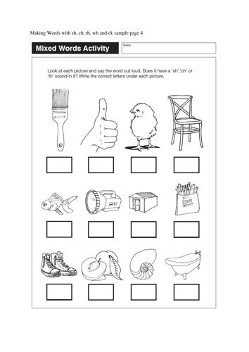 Activity sheets for sh, ch, th, wh, ck words (33 pages) by