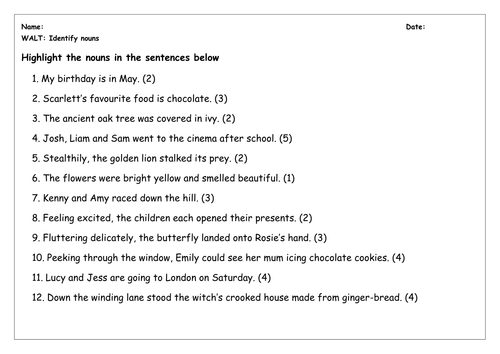 SPaG Worksheet: Identify Nouns by chloef23 - Teaching Resources - TES