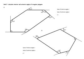 Irregular Polygons Calculate Interior And Exterior Angles By Chloef23 Teaching Resources Tes