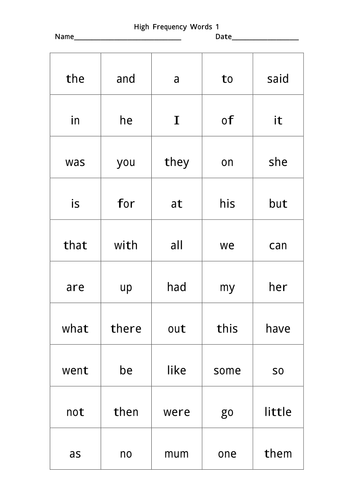 500 high frequency words pdf