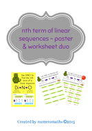 Nth term of linear sequences poster & worksheet duo