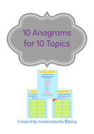 10 Anagrams for 10 Math Topics
