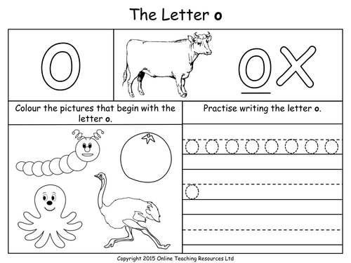 Letters of the Alphabet Teaching Pack 24 PowerPoint – Letter O Worksheets Kindergarten
