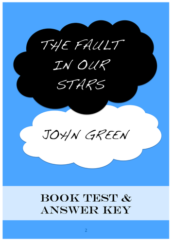 The Fault In Our Stars ~ BOOK TEST + Answer Key