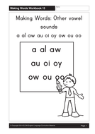 Other vowel sounds: a al aw au oi oy ow ou oo (25 pages)