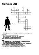 The Battle of the Somme 1916 Crossword