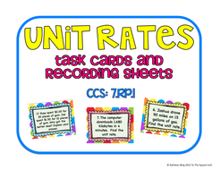 Unit Rates Task Cards and Recording Sheets