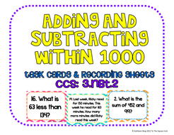 Adding and Subtracting within 1000 Task Cards & Recording Sheets, CCS: 3.NBT.2
